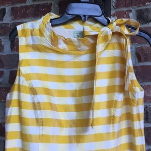 Trio New York Yellow Silk Plaid Dress W/ Tie, 8